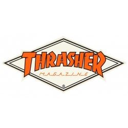 Thrasher Diamond - White / Orange sticker