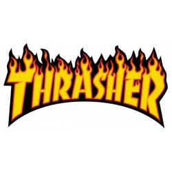 Thrasher Flame - Black / Yellow sticker