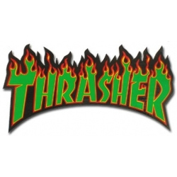 Thrasher Flame - Black / Green sticker