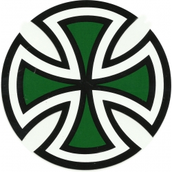 Independent Cut Cross- Black / Green sticker