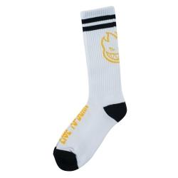 Spitfire Heads Up - Branco Preto Amarelo meias