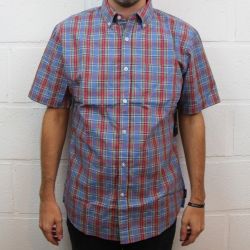 Brixton Arthur Red Blue shirt