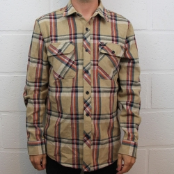 Brixton Bowery flannel tan plaid shirt