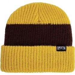 Brixton langley stripe mustard brown beanie