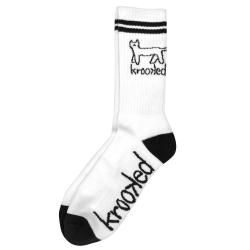 Krooked Skateboards Kat White Black chaussettes