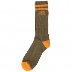 Anti-Hero BLACKHERO OUTLINE OLIVE ORANGE chaussettes