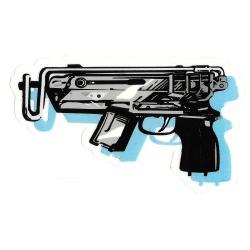Baker gun sticker
