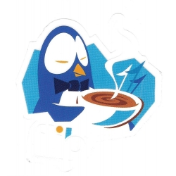 Flip penguin breakfast sticker