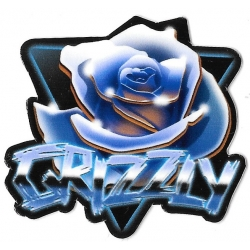 Grizzly blue rose sticker