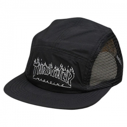 Thrasher 5 Panel Flame Outline Black casquette