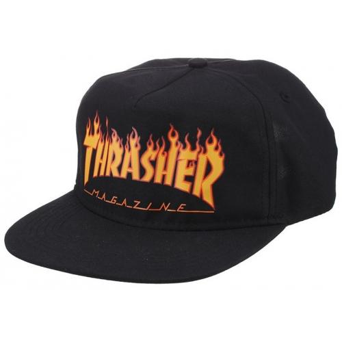Flame Snapback Black